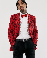 Blazer de leopardo rojo de ASOS Edition
