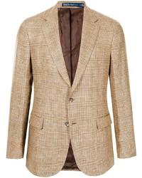 Blazer de lino de tartán marrón claro de Polo Ralph Lauren