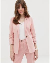 Blazer de lino rosado de ASOS DESIGN