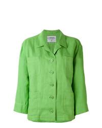 Blazer de lino verde de Chanel Vintage