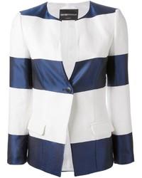 Blazer de Rayas Horizontales Blanco y Azul Marino de Emporio Armani