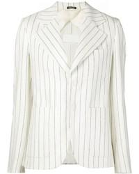Blazer de rayas horizontales blanco de Maison Margiela