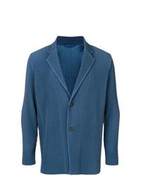 Blazer de rayas verticales azul de Homme Plissé Issey Miyake