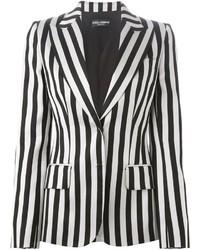 Blazer de Rayas Verticales Blanco y Negro de Dolce & Gabbana