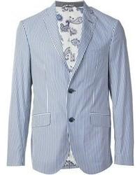 Blazer de rayas verticales en blanco y azul de Etro