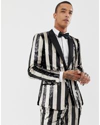 Blazer de rayas verticales en blanco y negro de ASOS Edition