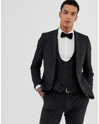 Blazer de rayas verticales en gris oscuro de Twisted Tailor