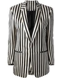 Blazer de rayas verticales en negro y blanco
