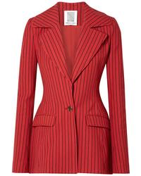 Blazer de rayas verticales rojo de Rosie Assoulin