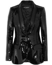Blazer de satén negro de Dolce & Gabbana