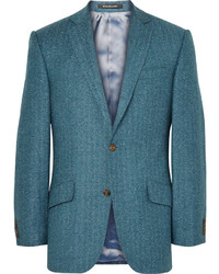 Blazer de seda de espiguilla en verde azulado de Richard James