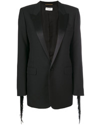 Blazer de seda сon flecos negro de Saint Laurent