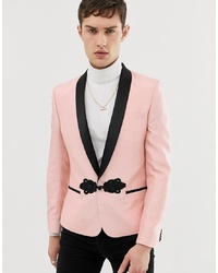 Blazer de seda rosado de ASOS DESIGN