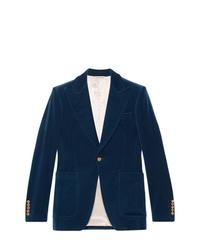 Blazer de terciopelo azul marino de Gucci