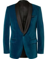 Blazer de terciopelo azul marino de Hugo Boss