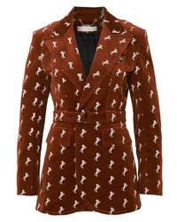 Blazer de terciopelo bordado marrón de Chloé