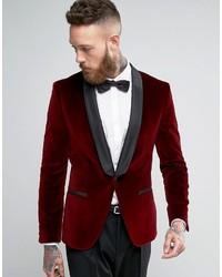 Blazer de terciopelo rojo de Hugo Boss