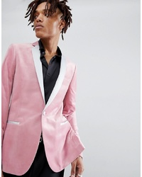 Blazer de terciopelo rosado