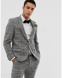Blazer de tweed a cuadros gris de Twisted Tailor