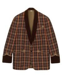 Blazer de tweed a cuadros marrón de Gucci