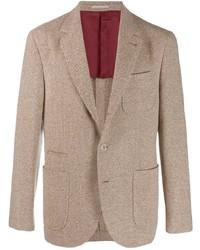 Blazer en zig zag marrón de Brunello Cucinelli