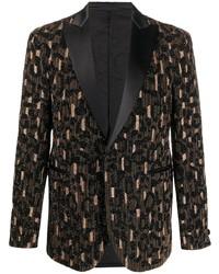 Blazer estampado en marrón oscuro de Versace