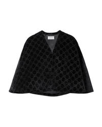 Blazer estilo capa de terciopelo negro de Gucci