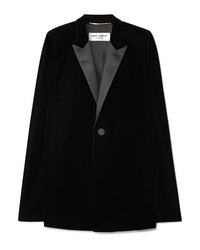 Blazer estilo capa de terciopelo negro de Saint Laurent