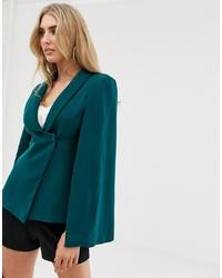 Blazer estilo capa en verde azulado de Lavish Alice
