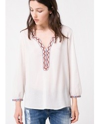Blusa campesina bordada blanca