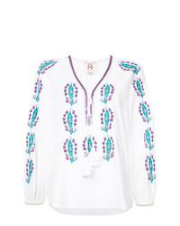 Blusa campesina bordada blanca de Figue