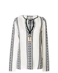 Blusa campesina bordada en blanco y negro de Tory Burch