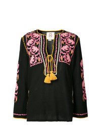 Blusa campesina bordada negra de Figue