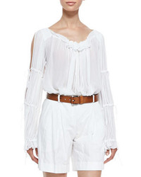 Blusa campesina con volante blanca