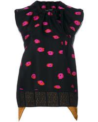 Blusa con print de flores negra de Proenza Schouler
