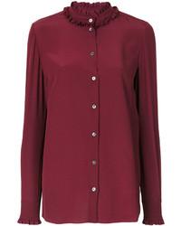 Blusa con volante morado oscuro de Dolce & Gabbana