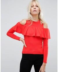 Blusa Con Volante Roja de Asos