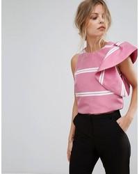 Blusa con volante rosada de Mango