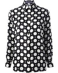 Blusa de botones a lunares en negro y blanco