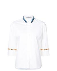 Blusa de botones bordada blanca de Mary Katrantzou