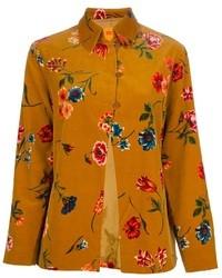 Blusa de botones con print de flores amarilla