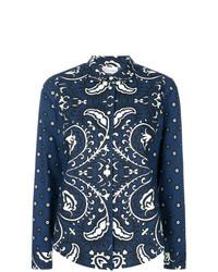 Blusa de botones con print de flores azul marino de RED Valentino