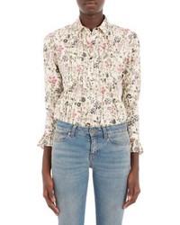 Blusa de botones con print de flores en beige