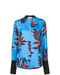 Blusa de botones con print de flores en turquesa de Roksanda