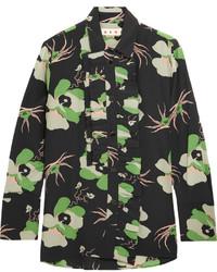 Blusa de botones con print de flores negra de Marni