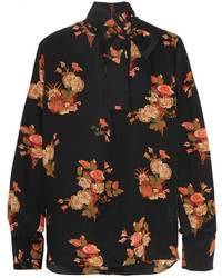 Blusa de botones con print de flores negra de Valentino