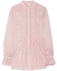 Blusa de botones con print de flores rosada de Michael Kors