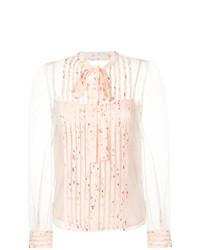 Blusa de botones con print de flores rosada de RED Valentino