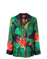 Blusa de botones con print de flores verde oscuro de F.R.S For Restless Sleepers