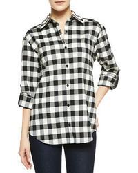 Blusa de botones de cuadro vichy en blanco y negro